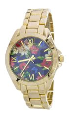 Floral Print Crystal Fashion Watch, Blue