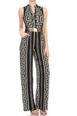 Black and White Aztec Printed Jumpsuit with Button Closure