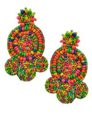 Women's Multi Color Acrylic Seed Bead & Suede Earring Set