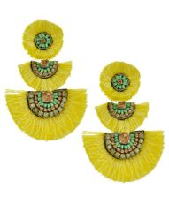 Gold Tone Yellow Thread Tassel & Mint Seed Bead Earring Set