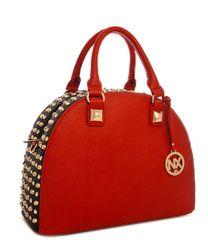 NX Rhinestone Studded Red and Black Fashion Tote