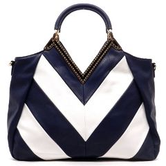 Navy Blue Chevron Top Handle Bag