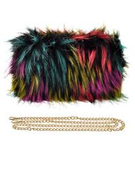 Women's Beautiful Multicolored Faux Fur Clutch