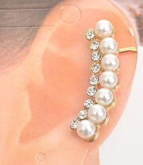Pearl Rhinestone Cuff Earring