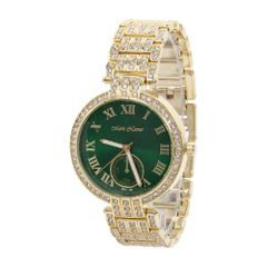 Green Dial Rhinestone Luxury Watch