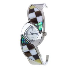 Silver Pave Shell Bangle Watch