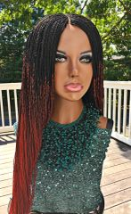 Micro Twist Ombre Braided Wig Color 1/Burgundy, 26 Inches
