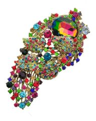 Flower Design Multi color Rhinestone and Glass Brooch