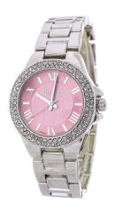 Crystal Bezel Pink and Rhodium Fashion Watch