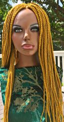Handmade Box Braided Wig with Net Closure Color Gold, 26 Inches