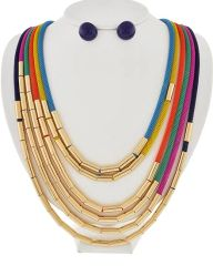 Gold Tone Multi Row Necklace Set