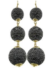 Hematite Thread Ball Dangle Earring Set