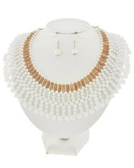 White Synthetic Pearl Necklace Set