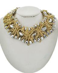 Women's Gold Tone Hematite Glass Metal Necklace Set