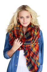 Multicolored Plaid Oversize Blanket Scarf Shawl