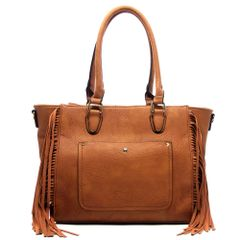 Brown Fringe Fashion Tote