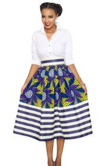 Vintage High Waisted Flare Stripe A-Line Midi Skirt