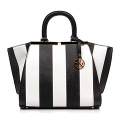 Stripe Top Handle Satchel