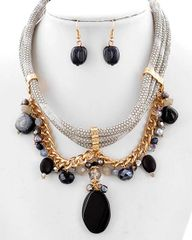 Black Stone Charm Necklace Set