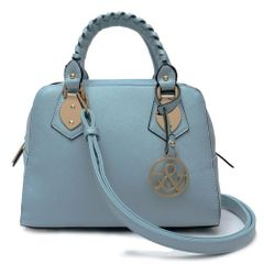 Blue Textured Top Handle Satchel