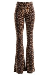 2Chique Boutique Women's Leopard Print Bell Bottom Pants