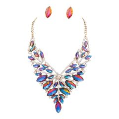 Sparkling Gold and Blue Marquise Crystal Necklace Set