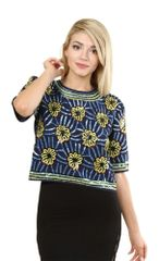Abstract Print Navy Sequins Top