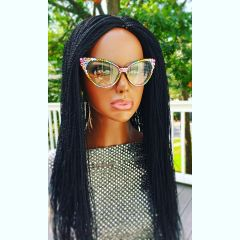 Micro Twist Wig with Net Closure, Color Black 24 Inches