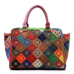 Genuine Leather Studded Patchwork Satchel