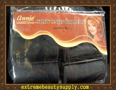 "annie silky satin fabric roller jumbo 1 1/2"" x 2 1/2"" 6 count black prevent breakage"