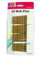 brown bronze color Secure girl clip bobby cute cheerleader band bob pins rubber tips 1 7/8 inch long long 60 count
