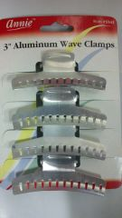 "3 "" inch long ALUMINUM WAVE CLAMPS 4 PCS HOLDS ALL HAIR STYLES"