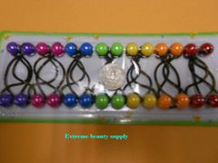 orange red yellow green light gray ELASTIC TIE JUMBO BEADS HAIR KNOCKER GIRL SCRUNCHIE BALLS PONYTAIL HOLDER