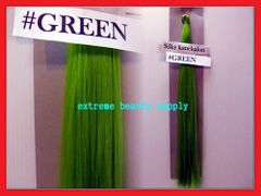 straight silky color GREEN 100% kanekalon synthetic braid hair dreadlock dread lock doll reroot paty COSTUME crown stage play