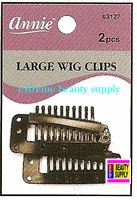 "Annie Wig Clips 2 count pcs size "" LARGE or SMALL color "" Brown "" clip in extension clip weave high light clip"