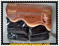 "annie silky satin fabric roller medium 3/4""x 2 1/2 10 count black prevent breakage"
