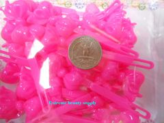 pink PLASTIC GIRL HAIR BARRETTE accessories SELF HINGE CLIP BOW PIN