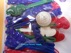 heart blue red white green PLASTIC GIRL HAIR BARRETTE ACCESSORIES SELF HINGE CLIP BOW PIN