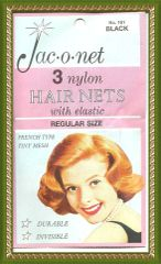 Jac O Net Black retro very thin franch tiny mesh 161 nylon hair 3 nets Free shipping USA only