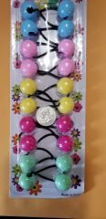 yellow pink green hot pink blue WHITE ELASTIC TIE JUMBO BEADS HAIR KNOCKER GIRL SCRUNCHIE BALLS PONYTAIL HOLDER