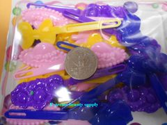 blue pink yellow PLASTIC GIRL HAIR BARRETTE accessories SELF HINGE CLIP BOW PIN