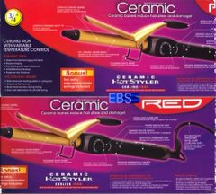 "ceramic hot styler curling iron by red by kiss size 3 / 4 "" inch"