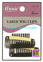"Annie Wig Clips 2 count pcs size "" LARGE or SMALL color "" BLACK "" clip in extension clip weave high light clip"