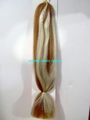100 % kanekalon braid hair color # 27/613 light brown bleach stripe blond mix dreadlock dread lock kanekalon synthetic braid hair dreadlock dread lock doll reroot paty COSTUME crown stage play color extension 38 inch long (when unfold it ) 2 oz w.t
