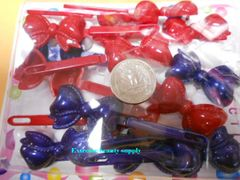 blue red white PLASTIC GIRL HAIR BARRETTE accessories SELF HINGE CLIP BOW PIN
