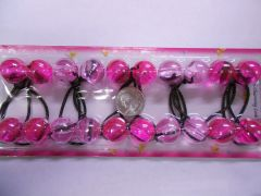 clear pink ELASTIC tie jumbo beads hair Knocker girl Scrunchie Balls Ponytail Holder