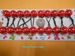 red round ELASTIC TIE JUMBO BEADS HAIR KNOCKER GIRL SCRUNCHIE BALLS PONYTAIL HOLDER