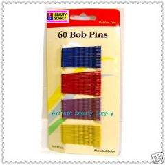 Purple Yellow Red Blue bobby bob pin Secure girl clip rubber tips 1 7/8 inch long long 60 count