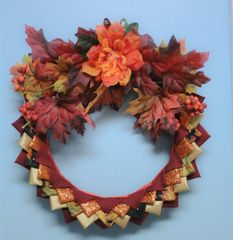 Red leaves wreath - Fall decor