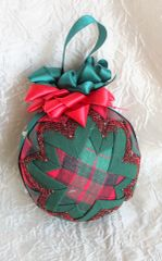 Christmas Plaid no sew folded fabric ornament - LIMITED EDITION